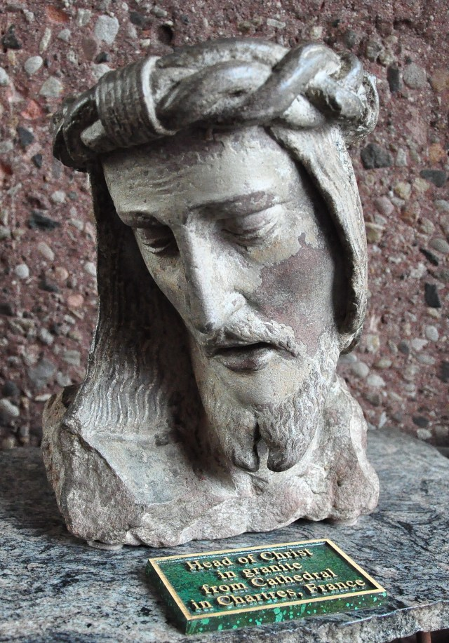 """Head of Christ in granite from Cathedral in Chartres, France"" (now in Chapel of the Holy Cross in Sedona, Arizona, USA)"